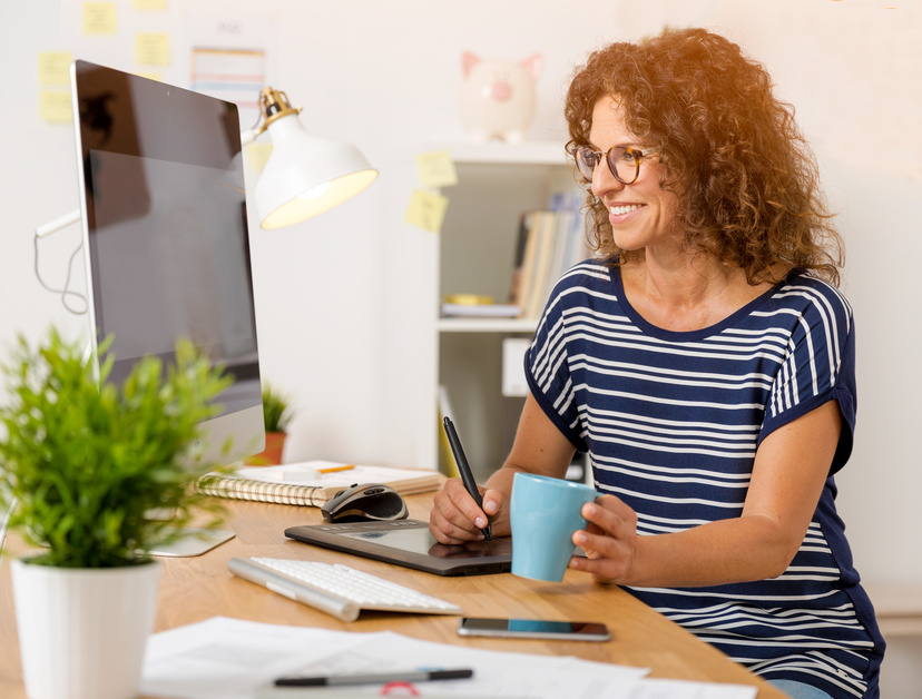 Business owner working on her business marketing